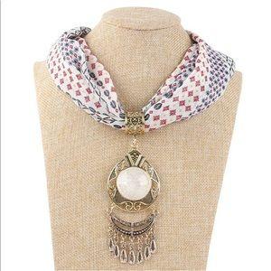 Scarf pendant necklace. Boho ethnic cotton jewelry